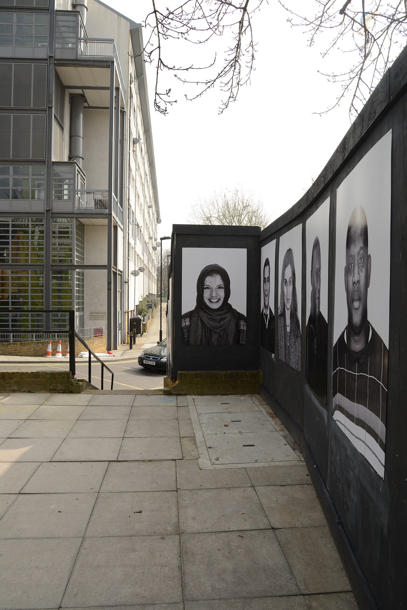 Face Forward is a public art exhibition created by award-winning photographic artist Emma Blau that utilises building site hoardings in the Church Street area of Westminster, which is currently undergoing regeneration. A resident herself, Blau's large-scale photographic portraits feature local people who will be affected by the huge transformations taking place in their neighbourhood. Face Forward is on display throughout 2016.