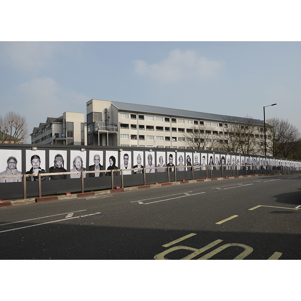 Face Forward is a public art exhibition created by award-winning photographic artist Emma Blau that utilises building site hoardings in the Church Street area of Westminster, which is currently undergoing regeneration. A resident herself, Blau's large-scale photographic portraits feature local people who will be affected by the huge transformations taking place in their neighbourhood. Face Forward is on display throughout summer 2016.